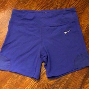 Nike Dri-Fit Bike Shorts Mid Thigh Purple Medium